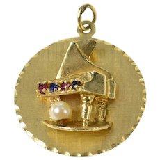14K Retro Pearl Ruby Sapphire Piano Statement Charm/Pendant Yellow Gold [CQXF]