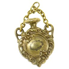 Gold Filled Victorian Ornate Scroll Lavalier Vial Bottle Charm/Pendant  [CQXF]