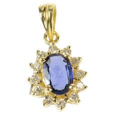14K Oval Natural Sapphire Diamond Halo Classic Pendant Yellow Gold [CQXF]