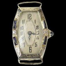 Art Deco Sleda Watch Co Diamond Sapphire Women's Watch [CQXK]