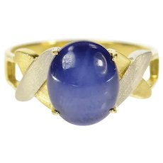 14K Retro Two Tone Men's Syn. Blue Star Sapphire Ring Size 7.25 Yellow Gold [CQXK]