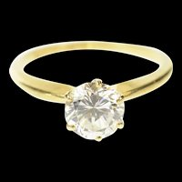 14K Classic Solitaire Simple Travel Engagement Ring Size 7 Yellow Gold [CQXF]