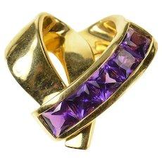 18K Princess Amethyst Curvy Designer Heart Pendant Yellow Gold [CQXF]