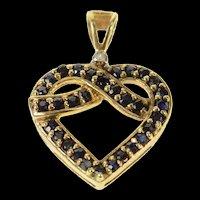 10K Sapphire Criss Cross Heart Diamond Accent Pendant Yellow Gold [CQXF]