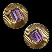 14K Amethyst Round Swirl Pattern Retro Screw Back Earrings Yellow Gold [CQXK]