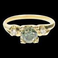14K 1940's Sim. Blue Topaz CZ Classic Statement Ring Size 4.5 Yellow Gold [CQXK]
