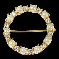 14K 0.50 Ctw Pearl Diamond Retro Classic Circle Pin/Brooch Yellow Gold [CQXK]