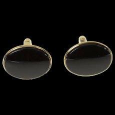 14K Oval Black Onyx Classic Retro Cuff Links Yellow Gold [CQXK]