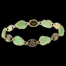 "14K Ornate Carved Jade Buddha Chinese Bracelet 6.5"" Yellow Gold [CQXK]"
