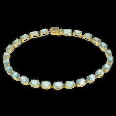 "10K Oval Blue Topaz Classic Tennis Bracelet 7"" Yellow Gold [CQXK]"