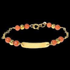 "14K Victorian Coral Engravable Chain Child's Bracelet 5.25"" Yellow Gold [CQXK]"