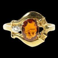 14K Syn. Garnet Diamond Ornate Statement Ring Size 8 Yellow Gold [CQXK]
