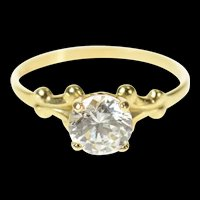 14K Classic Round Solitaire Travel Engagement Ring Size 5 Yellow Gold [CQXF]