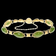 """14K Marquise Nephrite Chinese Happiness Clasp Bracelet 7.25"""" Yellow Gold [CQXK]"""