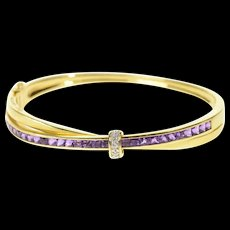 "18K Guy Laroche Amethyst Diamond Bangle Bracelet 6.5"" Yellow Gold [CQXK]"