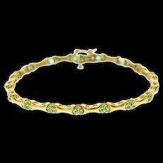 "14K Curved Bar Link Sim. Emerald Statement Bracelet 7"" Yellow Gold [CQXK]"