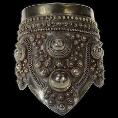 "Sterling Silver Elaborate Thai Sleeve Cuff Statement Ornate Bracelet 7.5""  [CQXK]"