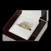 14K 0.38 Ctw Diamond Floral Engagement Bridal Set Ring Size 7 Yellow Gold [CQXK]