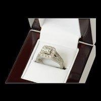 14K 1.94 Ctw Princess Diamond Halo Engagement Ring Size 7.25 White Gold [CQXK]