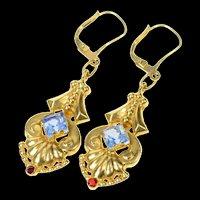 14K 1930's Art Deco Ornate Sim. Topaz Dangle Earrings Yellow Gold [CQXK]
