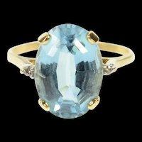 14K Oval Blue Topaz Diamond Accent Classic Ring Size 8.25 Yellow Gold [CQXS]