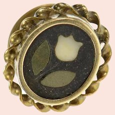 10K Black Onyx Floral Inlay Victorian Button Cover  Yellow Gold [CQXP]