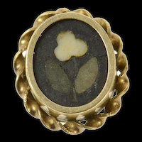 10K Black Onyx Floral Inlay Victorian Button Cover  Yellow Gold [CQXS]