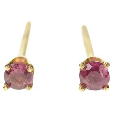 14K Classic Round Ruby Solitaire Stud Earrings Yellow Gold [CQXT]