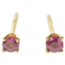 14K Classic Round Ruby Solitaire Stud Earrings Yellow Gold [CQXS]