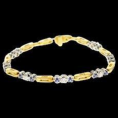"18K 1.33 Ctw Diamond Sapphire Bar Link Tennis Bracelet 6.75"" Yellow Gold [CQXS]"