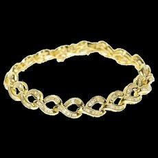"14K 3.00 Ctw Baguette Wavy Braid Link Tennis Bracelet 6.5"" Yellow Gold [CQXS]"