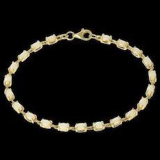 "10K Oval Natural Opal Classic Statement Bracelet 7.25"" Yellow Gold [CQXS]"