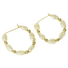 14K Pearl Beaded Classic Statement Wire Hoop Earrings Yellow Gold [CQXT]