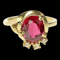 10K Retro Syn. Ruby Oval CZ Accent Cocktail Ring Size 6 Yellow Gold [CQXS]