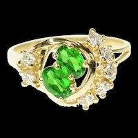 10K 1960's Retro Syn. Emerald CZ Cocktail Ring Size 9 Yellow Gold [CQXS]