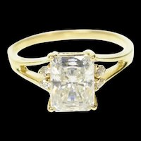 10K Emerald Cut Accent Classic Travel Engagement Ring Size 9 Yellow Gold [CQXT]