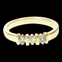 14K Diamond Blue Topaz Stackable Wedding Band Ring Size 6.75 Yellow Gold [CQXT]