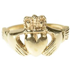 9K Traditional Celtic Claddagh Loyalty Symbol Ring Size 8.25 Yellow Gold [CQXS]