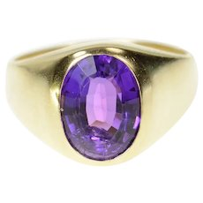 14K Oval Amethyst Solitaire Graduated Statement Ring Size 8 Yellow Gold [CQXS]