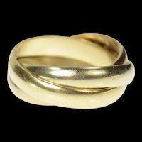 9K Tri Tone Rolling Three Band Trinity Ring Size 5.5 Yellow Gold [CQXS]