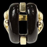 14K Retro Black Onyx Buckle Design Statement Ring Size 6.75 Yellow Gold [CQXT]