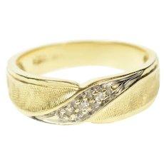 14K Diamond Wavy Design Retro Statement Band Ring Size 6.25 Yellow Gold [CQXS]