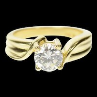 14K Classic Round Solitaire Travel Engagement Ring Size 5 Yellow Gold [CQXT]