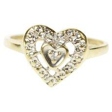 10K Diamond Inset Retro Heart Love Promise Ring Size 5.5 Yellow Gold [CQXP]