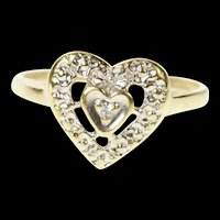 10K Diamond Inset Retro Heart Love Promise Ring Size 5.5 Yellow Gold [CQXT]