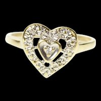 10K Diamond Inset Retro Heart Love Promise Ring Size 5.5 Yellow Gold [CQXS]