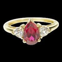 10K Pear Syn. Garnet CZ Accent Three Stone Ring Size 7 Yellow Gold [CQXS]