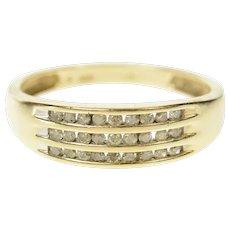 10K Tiered Diamond Channel Statement Band Ring Size 7.25 Yellow Gold [CQXS]
