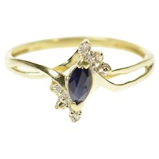 10K Marquise Sapphire Diamond Accent Bypass Ring Size 7.5 Yellow Gold [CQXS]