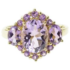 14K Three Stone Oval Amethyst Halo Cocktail Ring Size 7 Yellow Gold [CQXS]